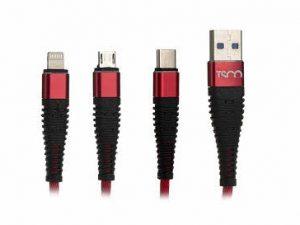 کابل تبدیل USB-C به لایتنینگ و microUSB تسکو مدل TC-A33 طول 1.20 متر